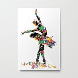 Ballerina with paint splash Metal Print