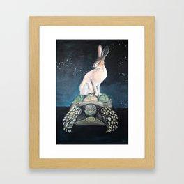 Midnight Tortoise and Hare Framed Art Print