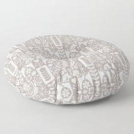 Swedish Folk Art - Warm Gray Floor Pillow