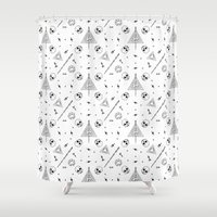 deathly hallows Shower Curtains featuring Deathly Hallows (White) by Mírë