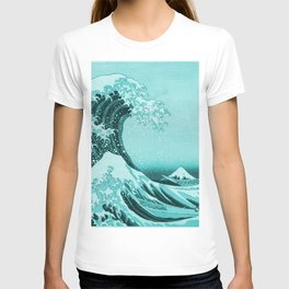 Aqua Blue Japanese Great Wave off Kanagawa by Hokusai T-shirt