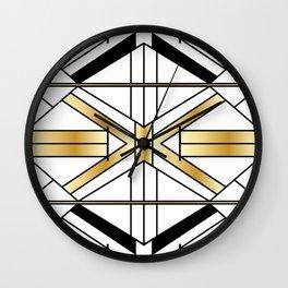 Chic Black & Gold Art Deco Lines Wall Clock