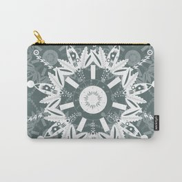 White and Charcoal Mandala, Transparent Textile Carry-All Pouch