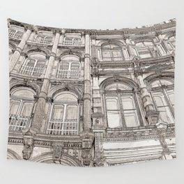 Facades - line art Wall Tapestry