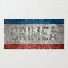 The National flag of Crimea - Vintage version with text reading Crimea  Canvas Print