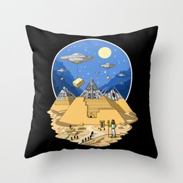 Alien Egyptian Pyramids Throw Pillow