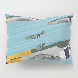 P51 Mustang Flying in Formation Pillow Sham