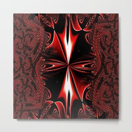 Red FIS Cross Abstract 3 Metal Print