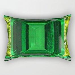 EMERALDS &  LIME GREEN PERIDOT GEMS BIRTHSTONES Rectangular Pillow