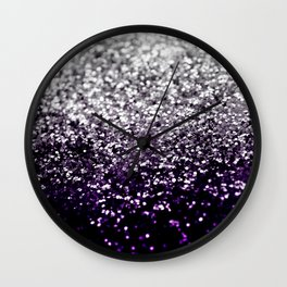 Dark Night Purple Black Silver Glitter #1 #shiny #decor #art #society6 Wall Clock