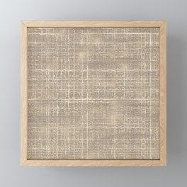 Beige Taupe Brown Jute Burlap Textile Pattern Framed Mini Art Print