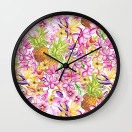 Tropical flower and pineapple watercolor art Wall Clock