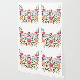 Hungarian folk pattern – Kalocsa embroidery flowers Wallpaper
