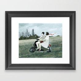Couple On Scooter Framed Art Print