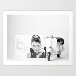 Audrey Glamour in Vespa Art Print