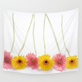 Colorful Pink and Yellow Gerbera Daisy Flowers Fine Art Photography Wall Tapestry