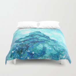 Snowy Landscape with a Giant Pine Duvet Cover