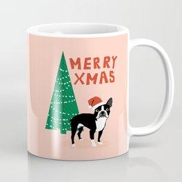 Boston Terrier Xmas - christmas tree holiday pet dog lover gift with boston terrier cute santa hat  Coffee Mug