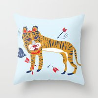 tiger Throw Pillows featuring tiger by echo3005