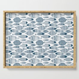 Blue Fish White Serving Tray