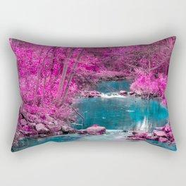 Pink Trees Blue Stream Rectangular Pillow