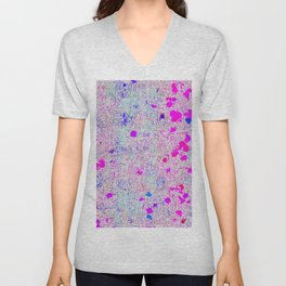 psychedelic abstract art texture background in pink purple blue Unisex V-Neck