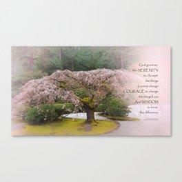 Serenity Prayer Cherry Tree One Canvas Print