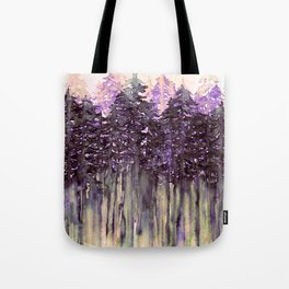 NORTHWEST VIBES Colorful Watercolor Painting Forest Trees Violet Green Modern Nature Art West Coast  Tote Bag