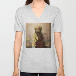 Lady Vanderkat with Roses Unisex V-Neck