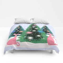 Pink And Perfect Kitty Cats In The Sparkling Snow Comforters
