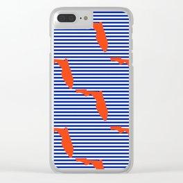 Florida university gators orange and blue college sports football stripes pattern Clear iPhone Case