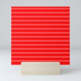 Scarlet Thin Horizontal Stripes Mini Art Print
