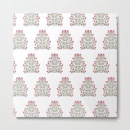 Indian Floral Motif Pattern - Pink Metal Print