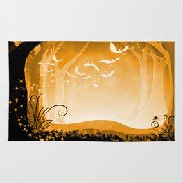Dark Forest at Dawn in Amber Rug