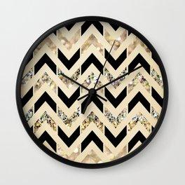 Black & Gold Glitter Herringbone Chevron on Nude Cream Wall Clock