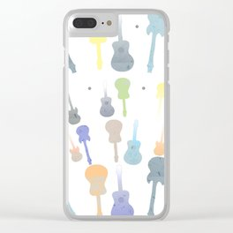 Pastel Guitar Pattern Clear iPhone Case