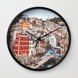 The five lands, cinque terre, Riomaggiore, Unesco village, UNESCO site, Liguria, sea village, cliff villages Wall Clock