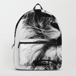 Hipster Lion White Backpack