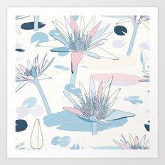 Waterlilies in pastels Art Print