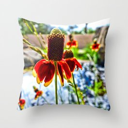 Cone Flower and Pond Throw Pillow