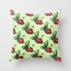 Strawberry Pattern- Strawberries fruits Throw Pillow