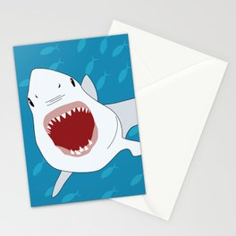 Shark Attack Underwater With Fish Swimming In The Background Stationery Cards