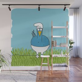 Eglantine la poule (the hen) dressed up as a Schtroumpf Wall Mural