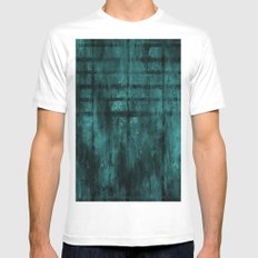 Turquoise Lined Rusted Metal Look White Mens Fitted Tee MEDIUM