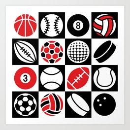 Sport Ball Checkerboard Art Print