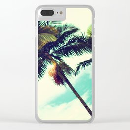 Vintage Hawaiian Palm Trees Clear iPhone Case