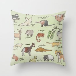 The Obscure Animal Alphabet Throw Pillow