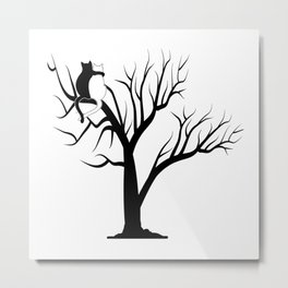 black white cats love Metal Print