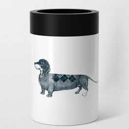Dachshund wearing argyle sweater Can Cooler