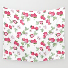 Watercolor . Strawberry on a White background . Wall Tapestry
